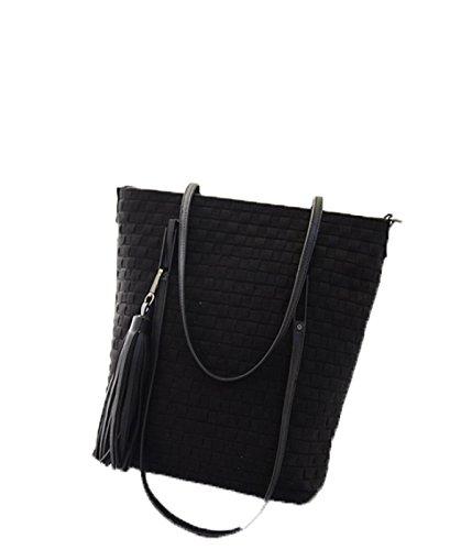 PACK Weave Eimer Tasche Koreanische Version Retro Schulter Handtaschen Scrub Big Bag Fashion Tassel Rucksack,D:RoseRed B:Black