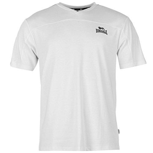 Lonsdale 2Stripe con scollo a V t-shirt da uomo bianco/navy top maglietta, White / Navy, XLarge
