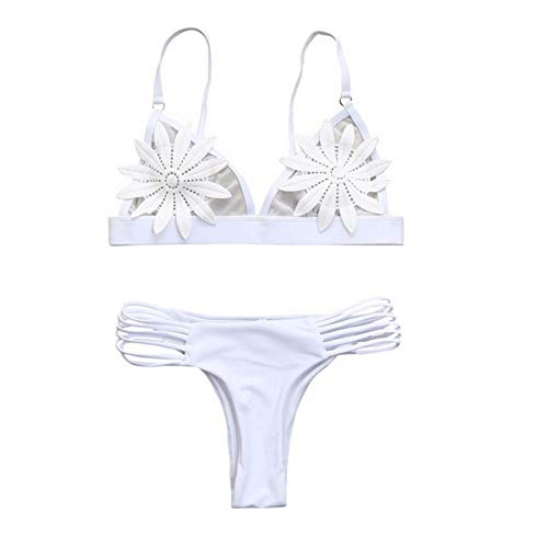 Wymw 2 Stücke Sexy Frauen Sommer Bademode Bikini Set BH Krawatte Seite G-String Tanga Strand Dreieck Anzug Badeanzug Badeanzug Badeanzug-M