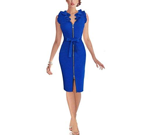 Babyonline Mode Bodycon Ärmellos Arbeit Reißverschluss Schleife Abendkleid Kurz Blau
