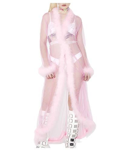 Schiere Kostüm Übergröße - ShineGown Braut Feder Robe Schiere Tüll Bademantel Dessous Pelz Getrimmt Lange Morgenmantel