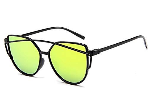 DXXHMJY Sonnenbrillen Sonnenbrille Frauen Twin-Beam Beschichtung Spiegel Sonnenbrille Weibliche Retro-Kunststoff Sonnenbrille Personalisierte High-End-Sonnenbrille Gold