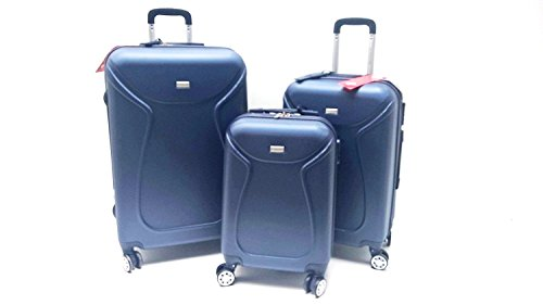 SET 3 TROLLEY VALIGE ABS RIGIDO 4 RUOTE COVERI YOU YOUNG SET TROLLEY RIGIDI 4 RUOTE ESPANDIBILI CON TROLLEY RYANAIR BAGAGLIO A MANO IDONEO cm.55x40x20 (Blu)