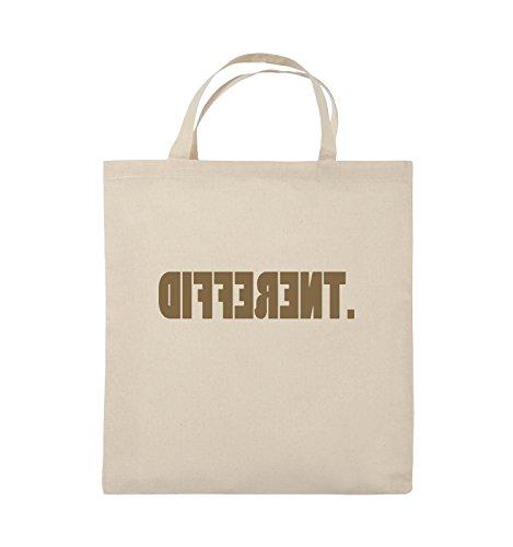 Comedy Bags - DIFFERENT - gespiegelt - Jutebeutel - kurze Henkel - 38x42cm - Farbe: Schwarz / Silber Natural / Hellbraun