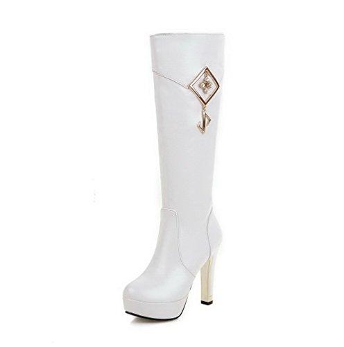 AllhqFashion Damen Rund Zehe Eingelegt Hoch-Spitze Hoher Absatz Stiefel Weiß