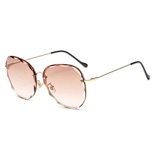 HQMGLASSES 2019 Übergroße Fliegersonnenbrille mit Gradientenlinse und Sonnenschutz, die Urlaub UV400 fährt,LightBrownGradientLens