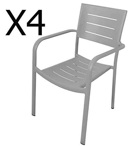 PEGANE Lot de 4 fauteuils empilables en Aluminium Coloris Gris Clair - Dim : 55 x 61 x H84 cm