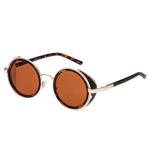 Ultra Estampado de Leopardo Steampunk Sonnenbrille Retro Damen Herren Rund Rave Gothic Vintage mit Scheuklappen UV400 Schutz Metall Unisex