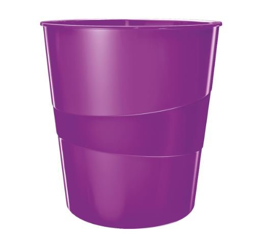 Leitz WOW Papierkorb, 15l, Polystyren (2er Pack, violett metallic)