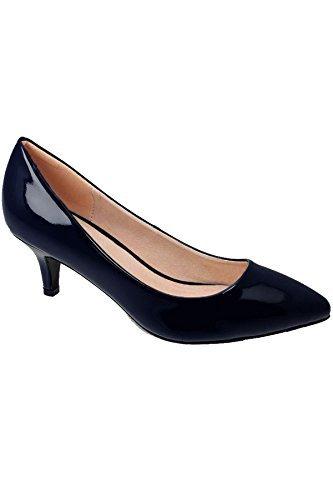 FANTASIA BOUTIQUE JLH022 Parker Pour Femmes Bas Chaton Cour Verni Bout Pointu Office Talons Chaussures Bleu Marine
