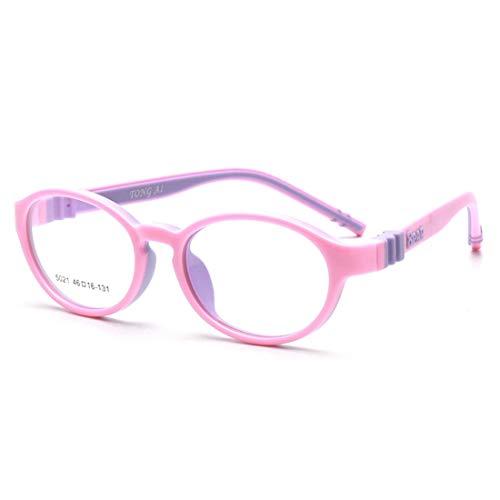 Shiduoli Brillengestell Kinder Silikon Brillengestell Nicht verschreibungspflichtige Brillen für Frauen (Color : Pink)