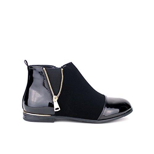 Cendriyon, Bottine bi matière noire CINK MODA Chaussures Femme Noir