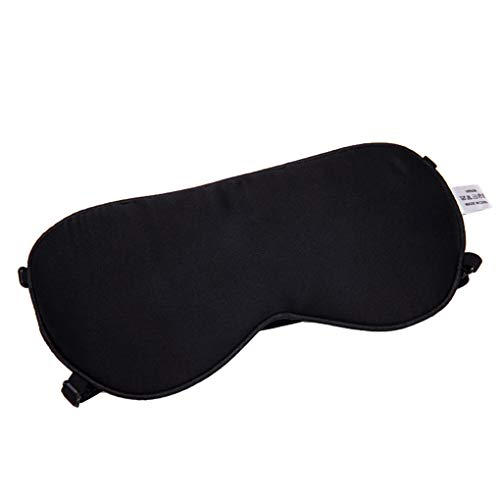 ELENXS Doppel Elastriemen Augenmaske Abdeckung Silk Schlaf eyeshade Blindfold Brillen Schwarz Reisebüro