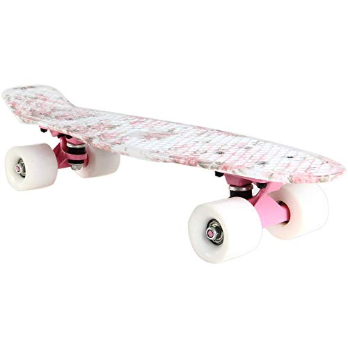 sakj-b 22 Zoll Frauen Cruiser Skateboard Longboard Grafik Rosa Blume Peny Board Künstlerische Skateboard Mädchen Teenager Neujahr Geschenk (Rucksack Board-skateboard Penny)