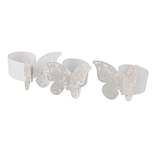 PIXNOR Anello di tovagliolo di farfalla Portarotolo Wedding Party Table Decor, confezione da 50 (bianco)