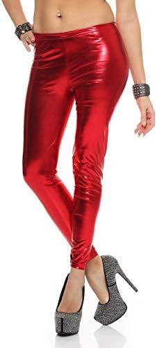 AE Leggings Metallic Latex Wet Look Lack Leder Optik Gr. S M L XL XXL 3XL, 905 Rot M/38