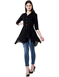 GOD BLESS Casual Solid Rayon Shirt Collar Tunic for Women