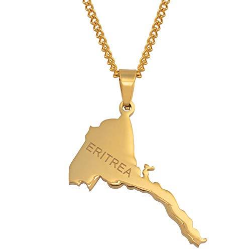 XZZZBXL Map Necklace for Women,Eritrea Karte Anhänger Halsketten Mode Persönlichkeit Für Frauen Mädchen Gold Farbe Charme Karten Schmuck 60 cm (24 Zoll)-Thin_Kette