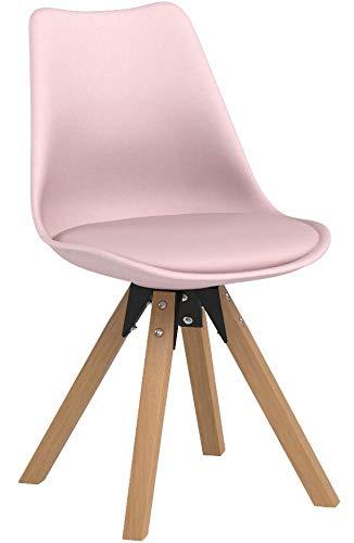 Duhome Stuhl Esszimmerstühle Küchenstühle !2 er Set! in Rosa Pink Küchenstuhl mit Holzbeine Sitzkissen aus Samtstoff TYP9-518M Esszimmerstuhl Retro Küchenstuhl Farbauswahl