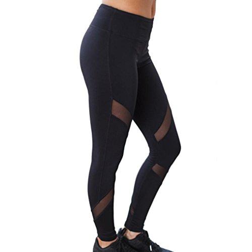 Pantalon de yoga,Tonwalk Femmes Yoga Fitness/Workout leggings Taille haute Maigre Pantalon de sport Noir