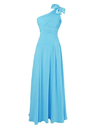 Dresstells, Robe de soirée Robe de cérémonie Robe de demoiselle d'honneur épaule asymétrique une ligne avec fleur Bleu