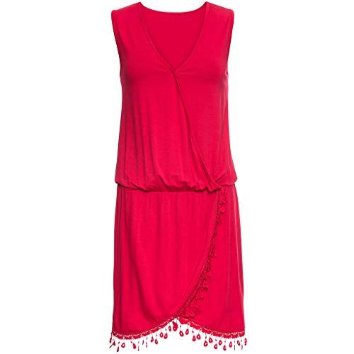 Bellelove Damen Sommerkleid Elegant Ärmellos V-Ausschnitt Casual Strandkleid Minikleid Strandmode