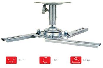 Fonestar SPR-546P Techo Plata montaje para projector - Soporte (Techo, 10 kg, 12 cm, 360°, 0 - 30°,