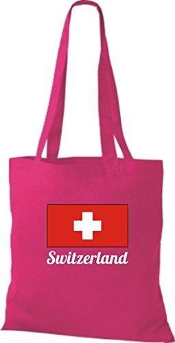 ShirtInStyle Stoffbeutel Baumwolltasche Länderjute Switzerland Schweiz Farbe Pink pink