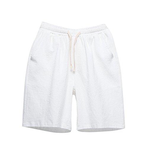 YuanDian Herren Sommer Casual Große Größe Baumwolle Leinen Shorts Slim Fit Elastische Taille Kordelzug Taschen Gerades Bein Strand Shorts Bermuda Kurze Hosen Weiß 4XL (Herren-elastische Taille Shorts)