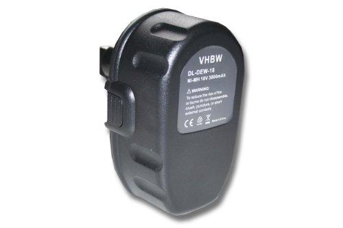Galleria fotografica vhbw batteria Ni-MH 3000mAh (18V) per macchine utensili DW960B, DW960K, DW960K-2, DW987, DW987KQ, DW988 come Dewalt DC9096, DE9039, DE9095, DE9096.