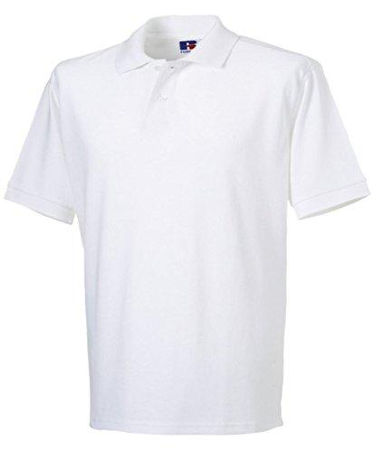 LotMart Herren Russell Einfarbiges Pique Polohemd T-Shirt Sommer 100% Baumwolle Kurzärmeliges TOP Weiß