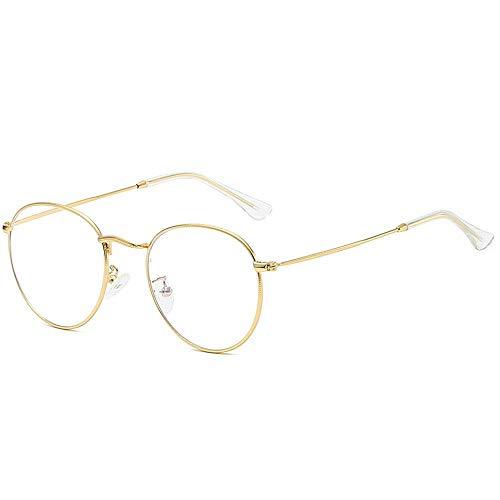 Männer/Frauen Flacher Spiegel Myopie Metallrahmen Abschlag Ovale Brille. Brille (Farbe : Gold)