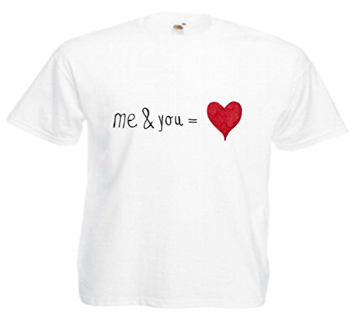 Motiv Fun T-Shirt Me und You Herz Liebe Verliebt Treue Verliebt Gag Motiv Nr. 3971 Weiß