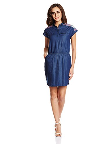 People Women's Cotton Skater Dress (P20402065272333_Navy_M)