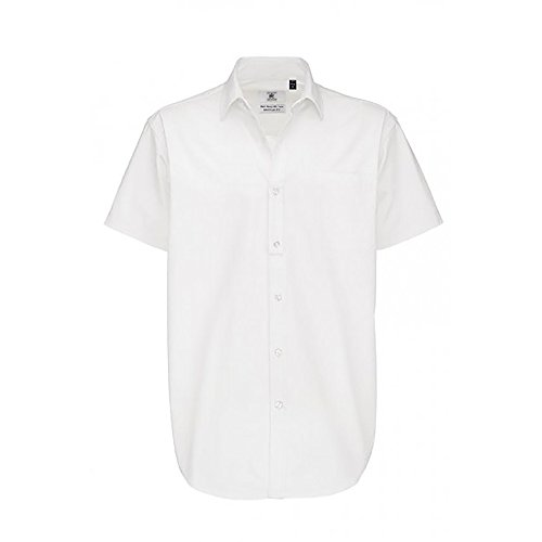 B&C Herren Sharp Twill Kurzarm Hemd Dunkelrot