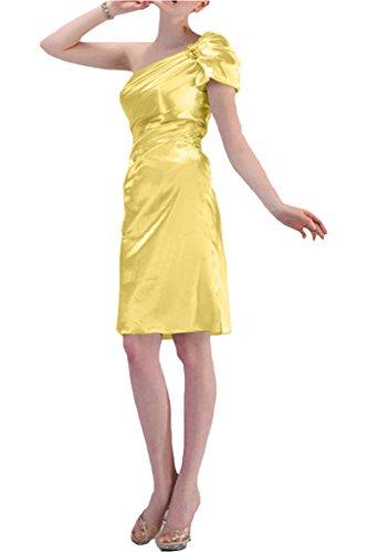 Gorgeous Bride Modern Kurz Ein-Schulter Satin Falte Abendkleid Festkleid Ballkleid Daffodil