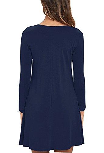HAOMEILI Damen Langarm Stretch Casual Loose T-Shirt Kleid Navy Blau