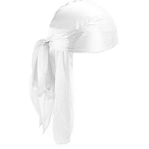 Kopf-Verpackung Für Frauen Männer Polyester Turban Cap Silky Durag Long-Tail-Breite Bügel Headwraps Glatte Dome Pirate Cap Fest Farbe Unisex -