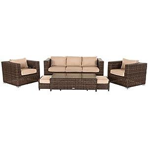 31jS6KcgY3L. SS300  - Rattan Garden Furniture, 6 Piece Ascot 3 Seater Sofa Set inc FREE Luxury Outdoor Covers in Truffle