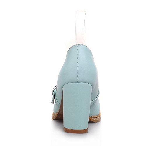 96830a47663622 VogueZone009 Damen Weiches Material Schnalle Rund Zehe Mittler Absatz Rein  Pumps Schuhe Blau ...