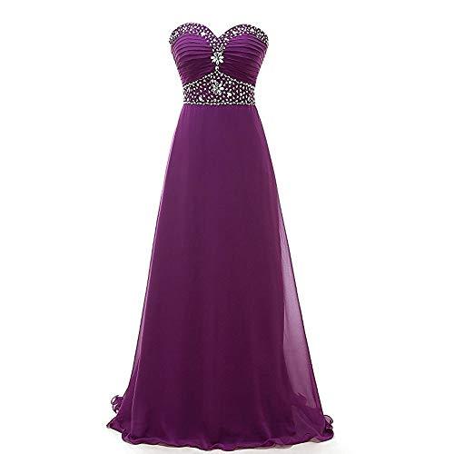 Bademode Womens Formale Perlen Chiffon aus der Schulter Kleid Hight Wasit, figurbetontes Partykleid Bikinis (Farbe : Lila, Size : US20) -