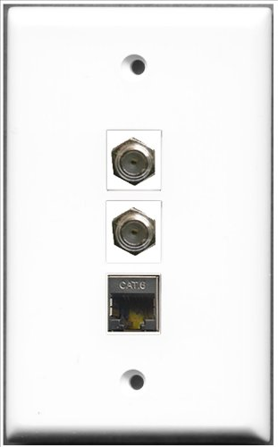 RiteAV - 2 PORT Koax-Kabel TV-F- und 1 Port geschirmt CAT6 Ethernet Wall Plate (Kabel-ethernet-wall Plate)