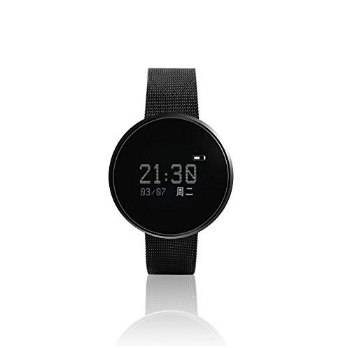 Ordro-Fitness-Tracker, 0,96 Zoll-OLED-Bildschirm, gehärtetes Glas, Touch, Stahl-Band, Zink-Legierung-Smart-Uhr, Schlaf-Monitor, Herzfrequenz und Blutdruck-Test,IP67wasserdicht und staubdicht,Bluetooth 4.0, für Android und IOS, schwarz
