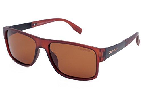 Grey Wolf Sonnenbrille im italienischen Stil, polarisiert, für Damen und Herren, zum Autofahren, Angeln, Sport, bernsteinfarbene Gläser, dunkelbrauner Kunststoffrahmen