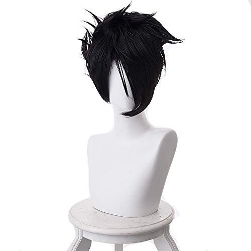 Dailygocn Neverland Ray Perücke Männer Schwarz Kurz Gerade 32cm Haar Hochtemperaturseide Halloween Verrücktes Kleid Zubehör zum Erwachsene & - Mann Ray Kostüm