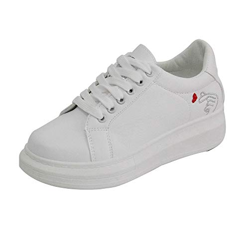 Toasye Damen Freizeitschuh Sneakers Printed Platform White Shoes Weiche Schuhe