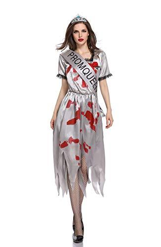 CWZJ Halloween Cosplay Terroristische Erwachsene Weibliche Brust Banner Blut Kostüm Zombie Ghost Braut Kostüm Kleid,XL