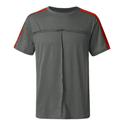 Sommer Männer Fashion Casual Brief Einfarbig Splice Kurze Ärmel T-Shirt Bluse Zolimx