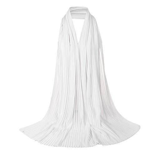 her, Damenmode aus Massivem Hijab Islamic Practical Holy Worship Hijab Muslim Easy Instant Kopftuch Kopftuch Wrap Shaw Plissee Sonnencreme Strandtuch 85X180cm ()