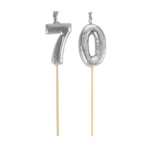 Picos velas Feliz Cumpleaños dinero 70 años (3,5 x 8 cm)